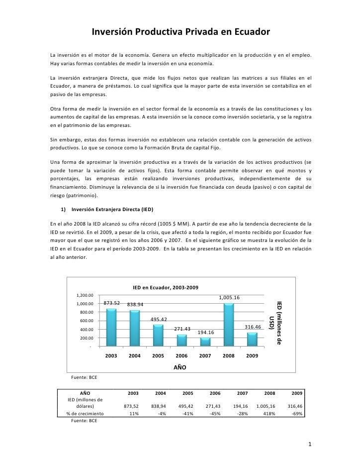 La Inversion En  Ecuador 2007 2009