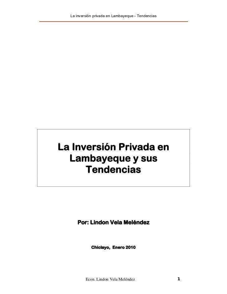La inversión privada en Lambayeque y sus tendencias