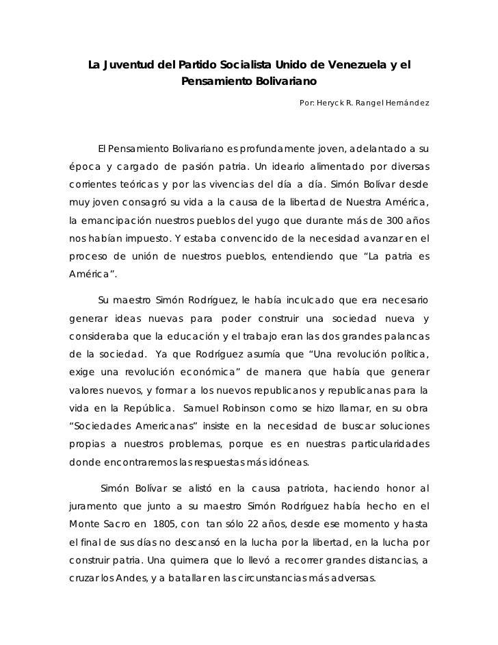 La Juventud del Partido Socialista Unido de Venezuela y el                    Pensamiento Bolivariano                     ...