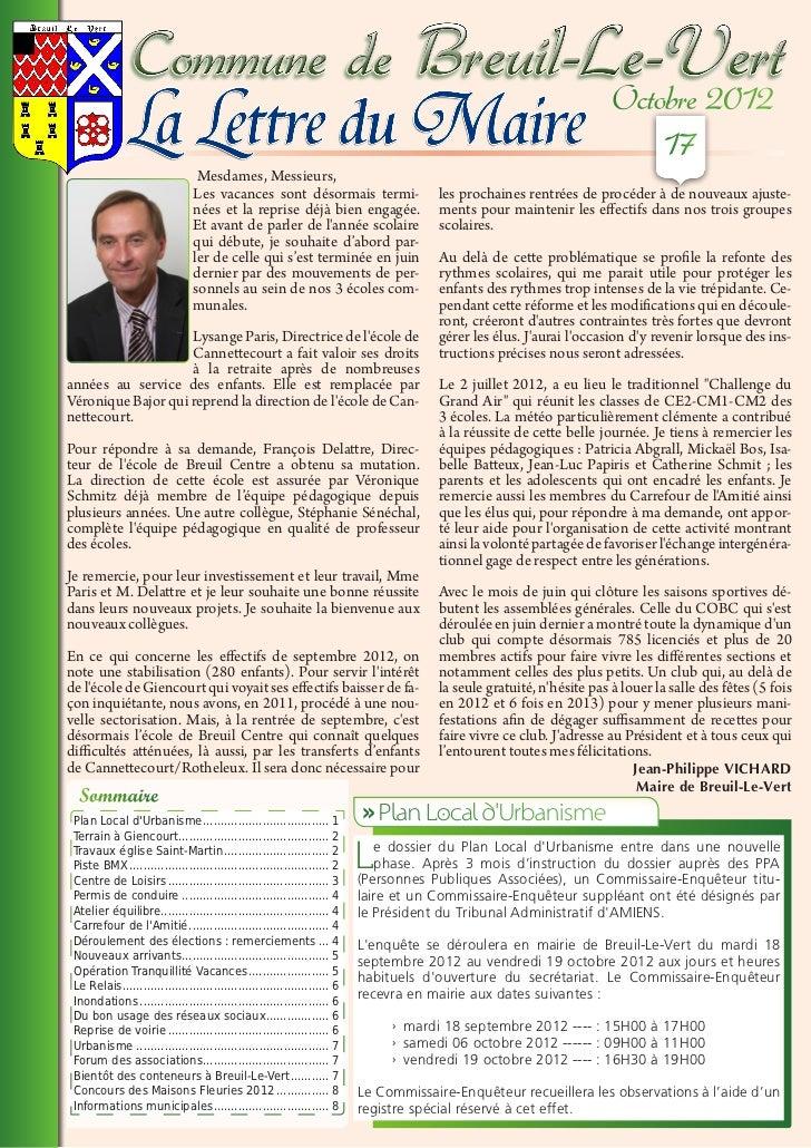 La Lettre du Maire - Octobre 2012