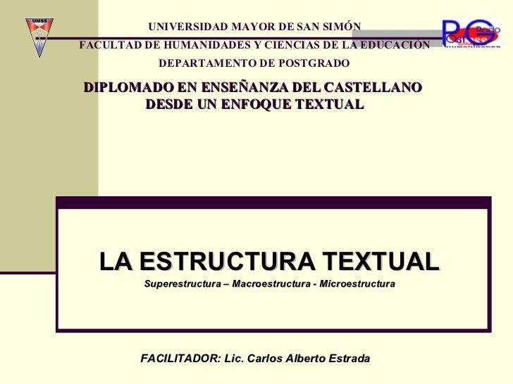 LA ESTRUCTURA TEXTUAL Superestructura – Macroestructura - Microestructura DIPLOMADO EN ENSEÑANZA DEL CASTELLANO  DESDE UN ...