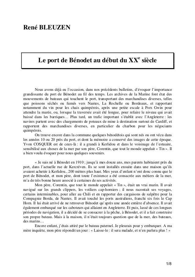 René BLEUZEN  Le port de Bénodet au début du XXe siècle  Nous avons déjà eu l'occasion, dans nos précédents bulletins, d'é...