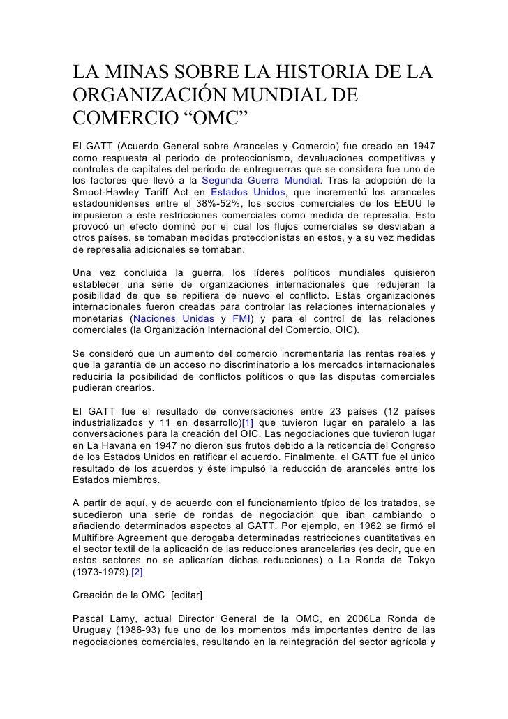 """LA MINAS SOBRE LA HISTORIA DE LA ORGANIZACIÓN MUNDIAL DE COMERCIO """"OMC"""" El GATT (Acuerdo General sobre Aranceles y Comerci..."""