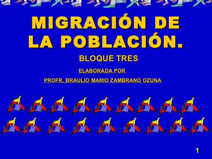 MIGRACIÓN DE LA POBLACIÓN. BLOQUE TRES ELABORADA POR  PROFR, BRAULIO MARIO ZAMBRANO OZUNA