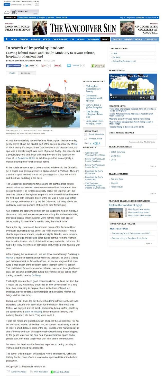 Hue - In Search of Splendour, The Vancouver Sun Magazine
