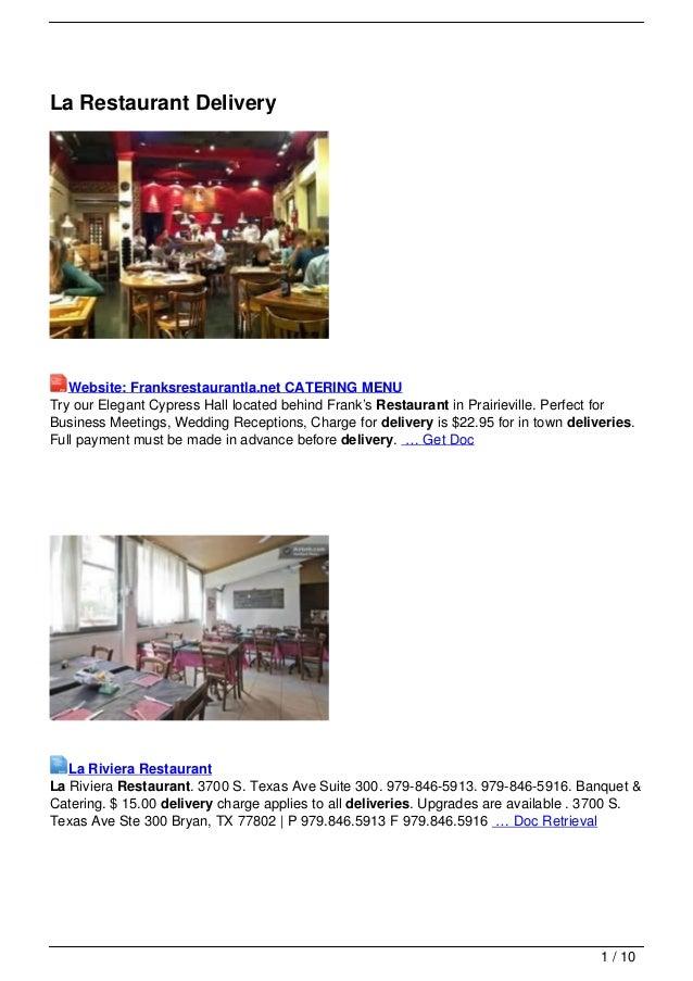 La Restaurant Delivery   Website: Franksrestaurantla.net CATERING MENUTry our Elegant Cypress Hall located behind Frank's ...