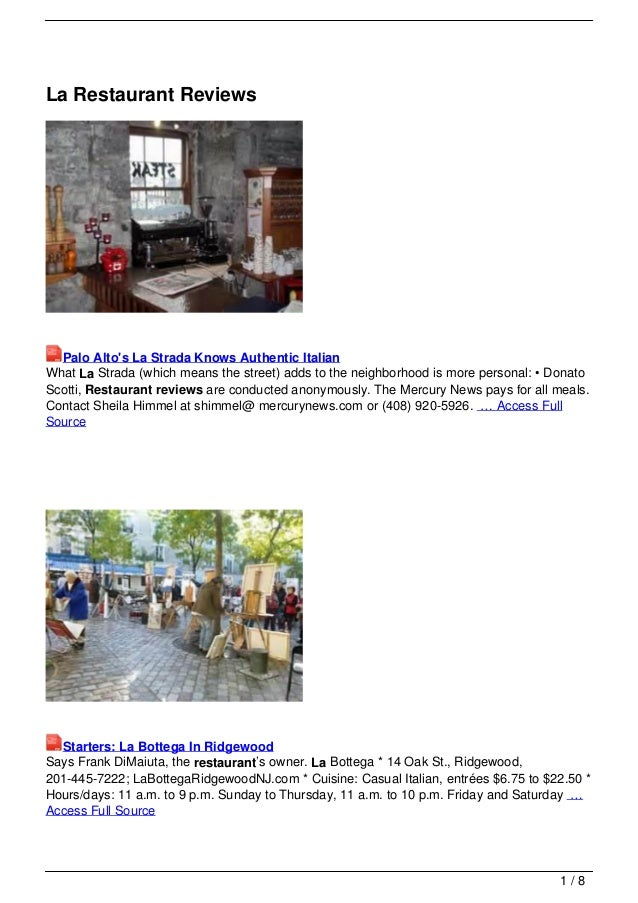 La Restaurant Reviews