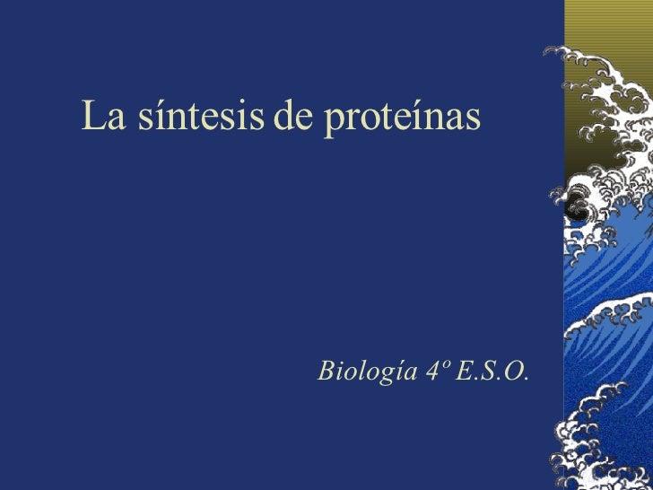 La síntesis de proteínas Biología 4º E.S.O.