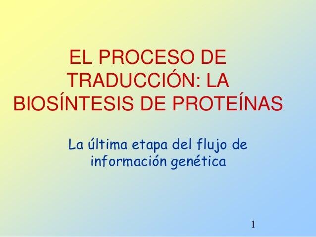 1 EL PROCESO DE TRADUCCIÓN: LA BIOSÍNTESIS DE PROTEÍNAS La última etapa del flujo de información genética