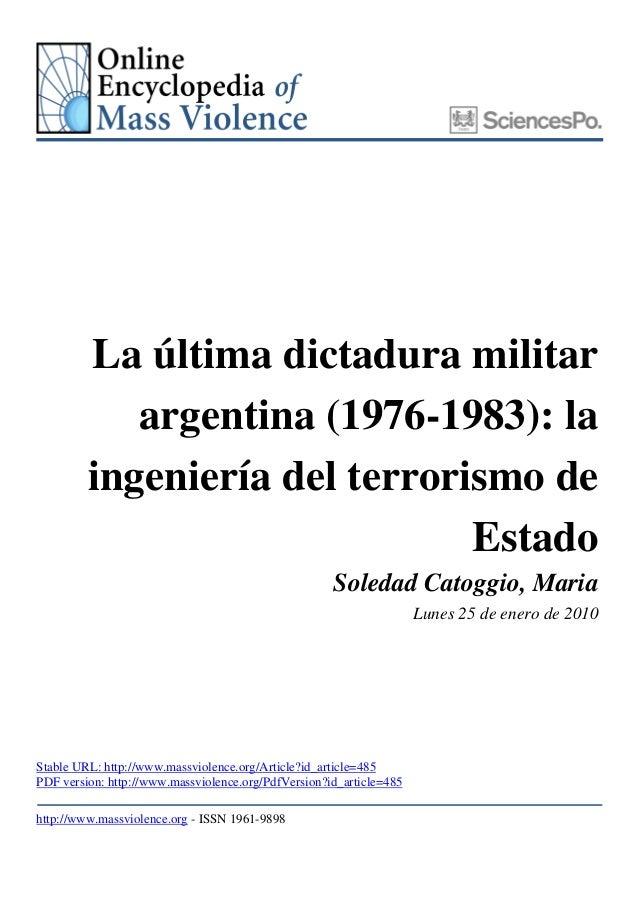 La última dictadura militar            argentina (1976-1983): la         ingeniería del terrorismo de                     ...