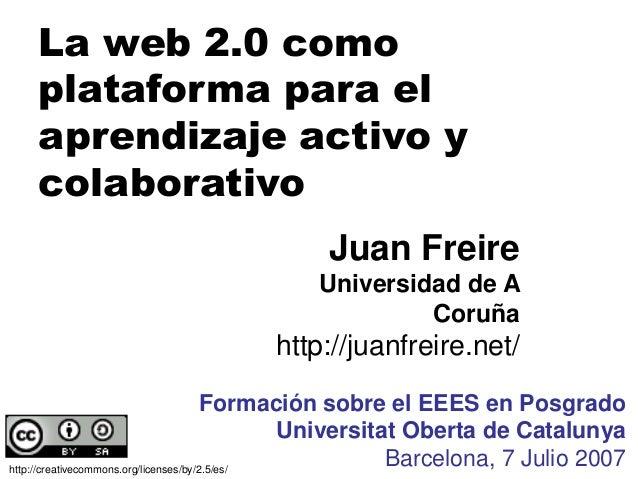La web 2.0 como plataforma para el aprendizaje activo y colaborativo