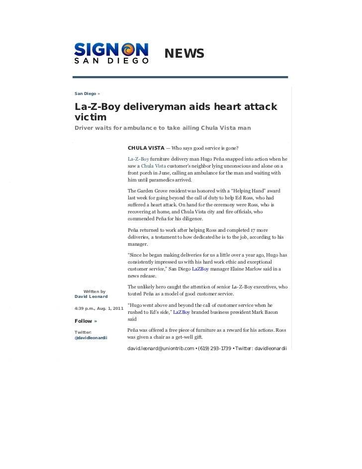 NEWSSan Diego »La-Z-Boy deliveryman aids heart attackvictimDriver waits for ambulance to take ailing Chula Vista man      ...