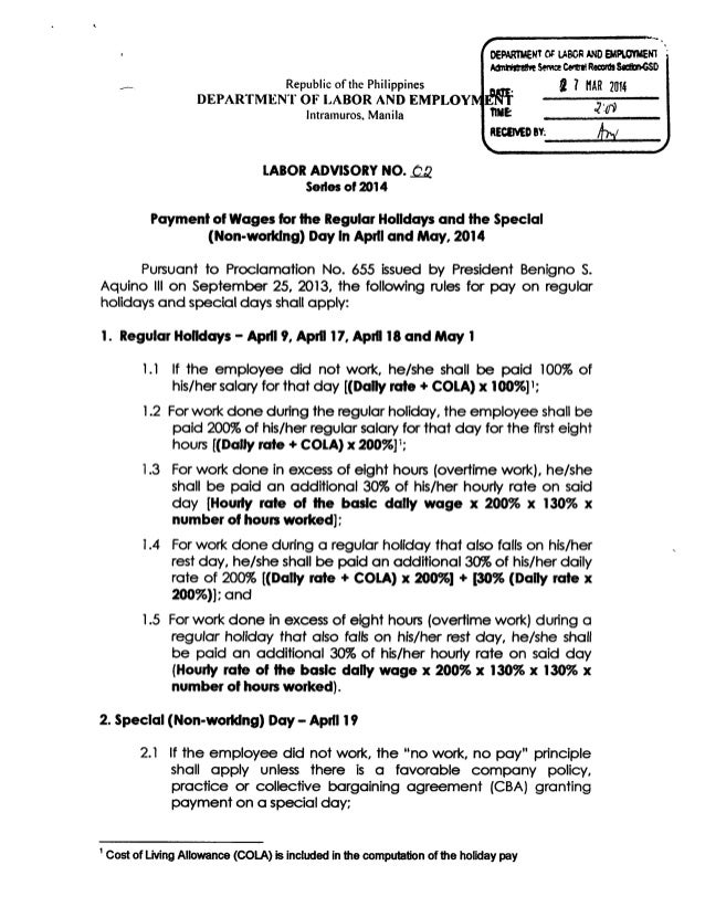 Labor Advisory on the Payment of Wages for the Regular Holidays and Special (Non-Working) Days in April and May 2014