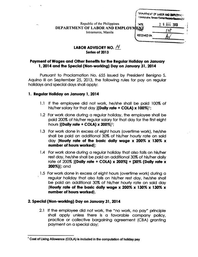 Labor Advisory on the Payment of Wages and Related Benefits on January 1, 2014 and January 31, 2014