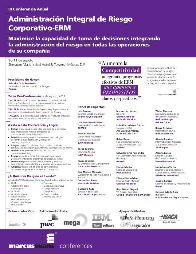 III Conferencia AnualAdministración Integral de RiesgoCorporativo-ERMMaximice la capacidad de toma de decisiones integrand...