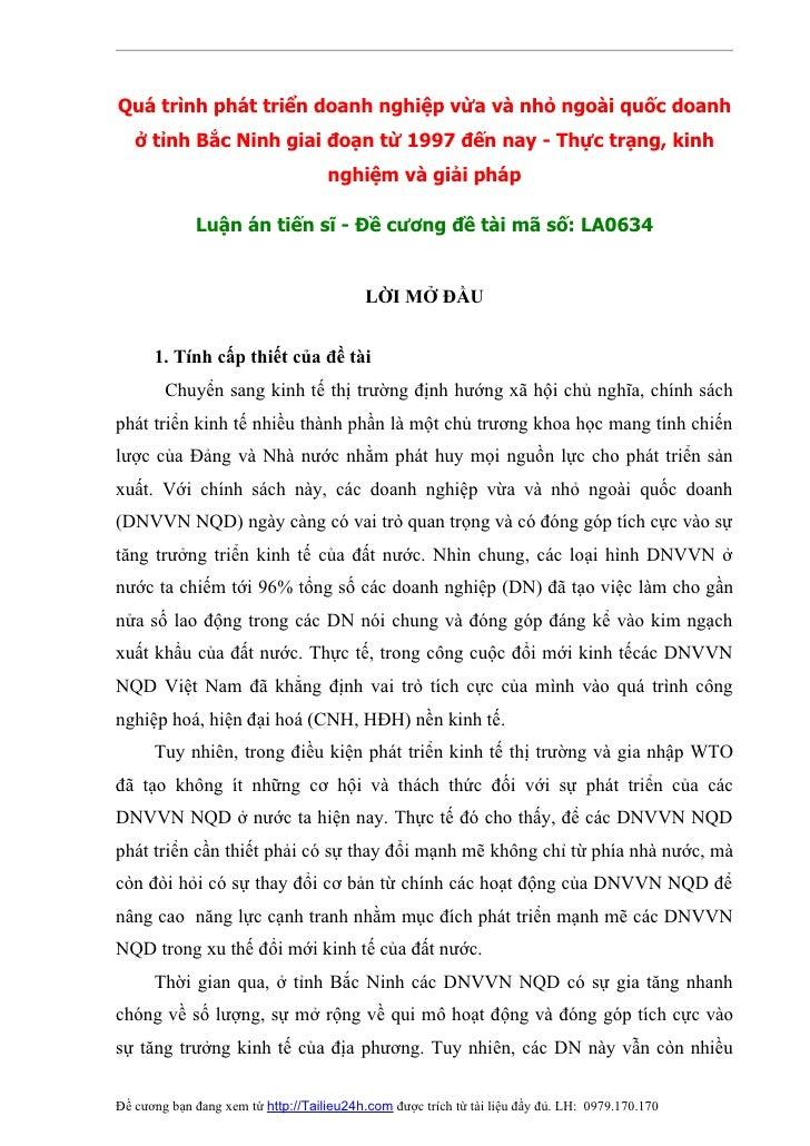 Quá trình phát triển doanh nghiệp vừa và nhỏ ngoài quốc doanh    ở tỉnh Bắc Ninh giai đoạn từ 1997 đến nay - Thực trạng, k...