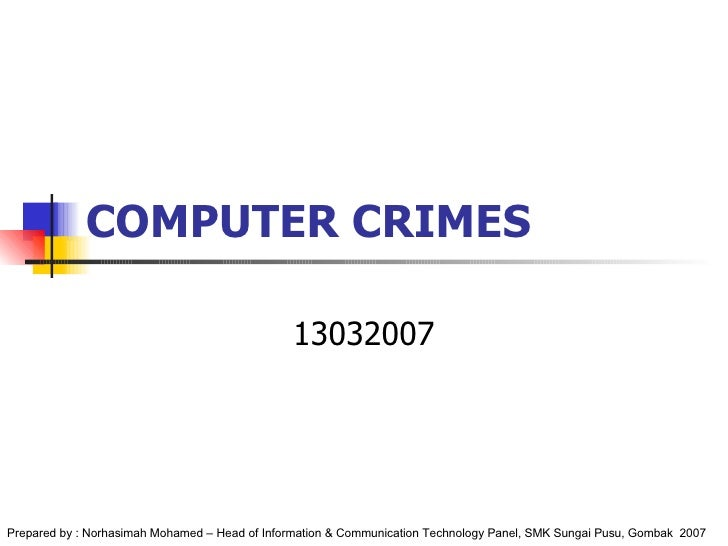 COMPUTER CRIMES 13032007 Prepared by : Norhasimah Mohamed – Head of Information & Communication Technology Panel, SMK Sung...