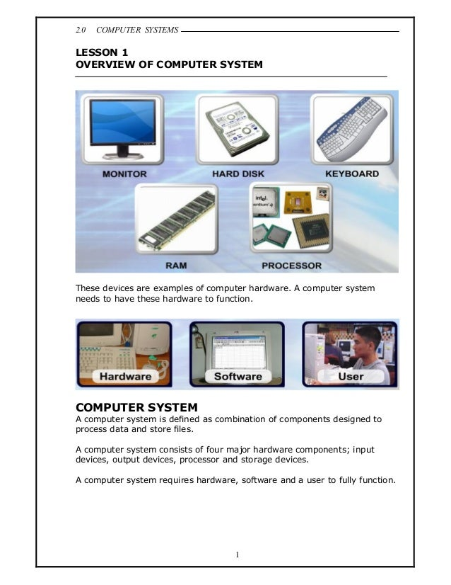 2.0   COMPUTER SYSTEMSLESSON 1OVERVIEW OF COMPUTER SYSTEMThese devices are examples of computer hardware. A computer syste...