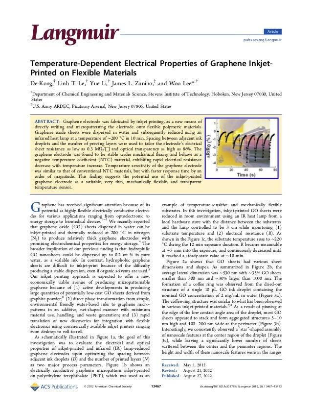 Temperature-dependent electrical properties of Inkjet-printed Graphene