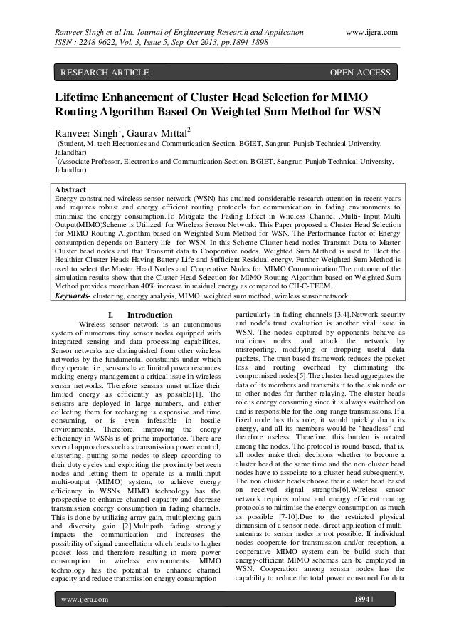 Ranveer Singh et al Int. Journal of Engineering Research and Application ISSN : 2248-9622, Vol. 3, Issue 5, Sep-Oct 2013, ...