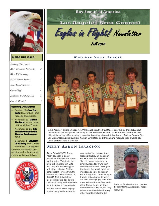 """In his """"Corner"""" article on page 4, LAAC Scout Executive Paul Moore conveys his thoughts about heroism and five Troop 783 (..."""