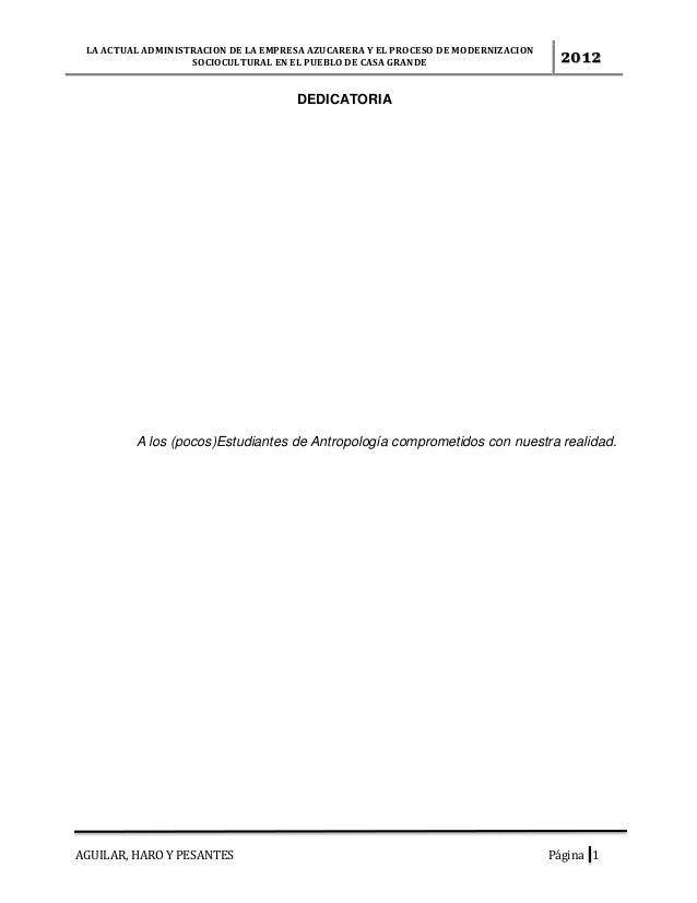 LA ACTUAL ADMINISTRACION DE LA EMPRESA AZUCARERA Y EL PROCESO DE MODERNIZACIONSOCIOCULTURAL EN EL PUEBLO DE CASA GRANDE 20...