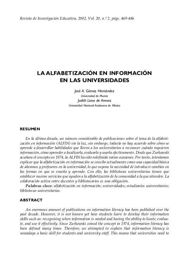 Revista de Investigación Educativa, 2002,La alfabetización en información en las universidadesVol. 20, n.º 2, págs. 469-48...