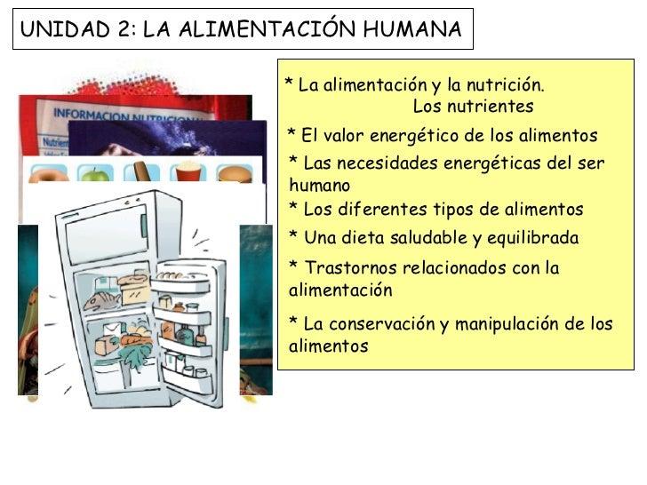 * La alimentación y la nutrición.  Los nutrientes * El valor energético de los alimentos * Las necesidades energéticas del...
