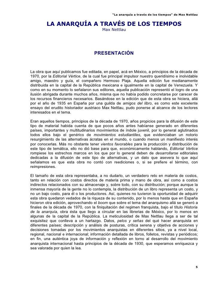 """""""La anarquía a través de los tiempos"""" de Max Nettlau            LA ANARQUÍA A TRAVÉS DE LOS TIEMPOS                       ..."""