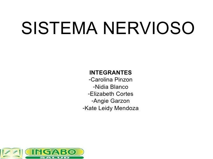 SISTEMA NERVIOSO <ul><li>INTEGRANTES </li></ul><ul><li>Carolina Pinzon </li></ul><ul><li>Nidia Blanco </li></ul><ul><li>El...