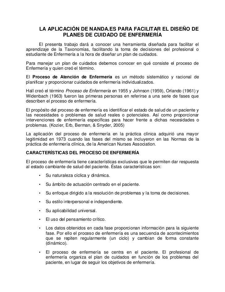LA APLICACIÓN DE NANDA.ES PARA FACILITAR EL DISEÑO DE              PLANES DE CUIDADO DE ENFERMERÍA      El presenta trabaj...