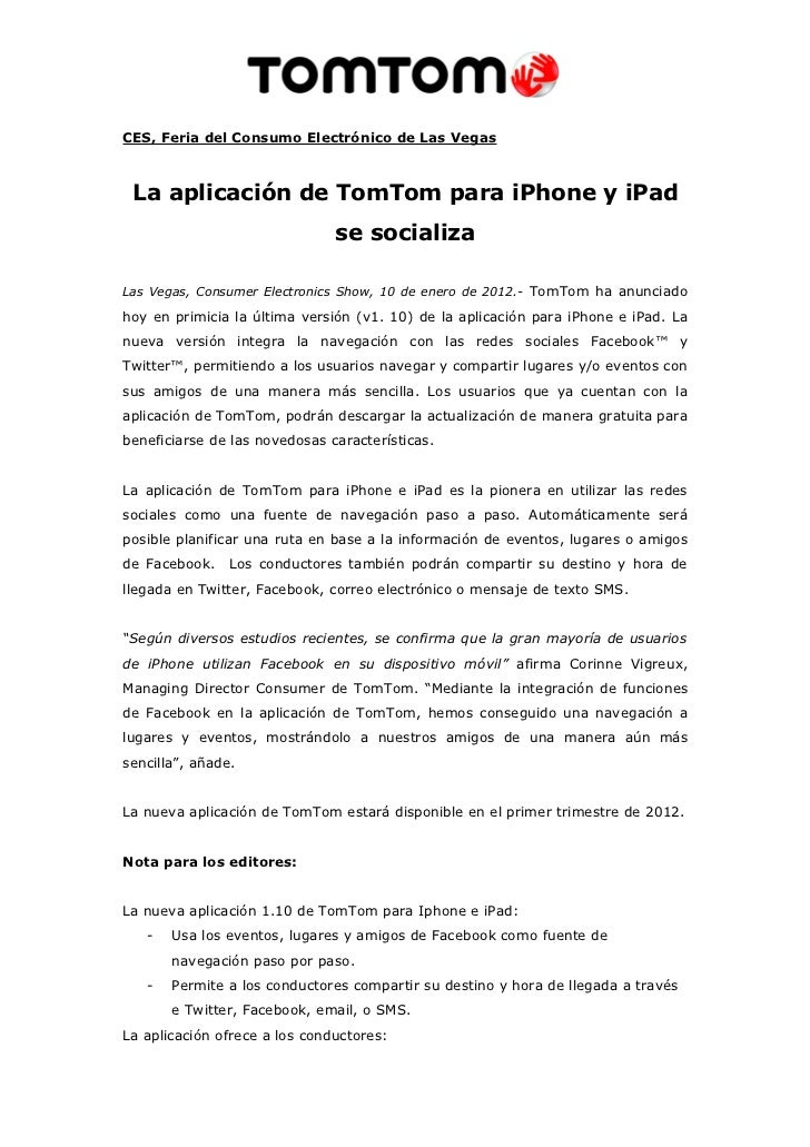 La aplicación de tom tom para iphone y ipad se socializa