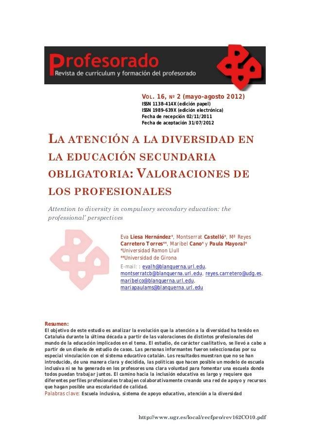 V OL . 16,  Nº  2 (mayo-agosto 2012)  ISSN 1138-414X (edición papel) ISSN 1989-639X (edición electrónica) Fecha de recepci...