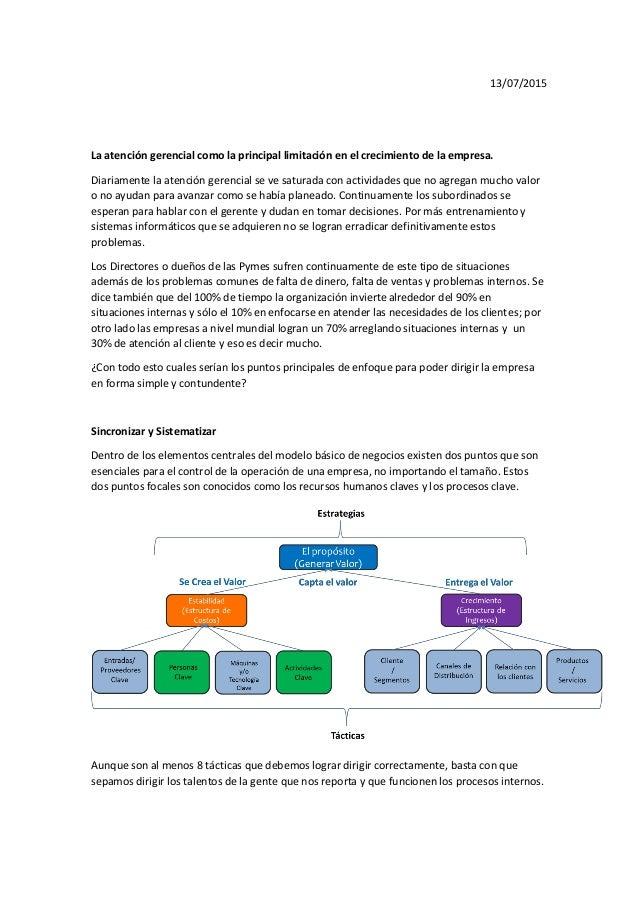 13/07/2015 La atención gerencial como la principal limitación en el crecimiento de la empresa. Diariamente la atención ger...