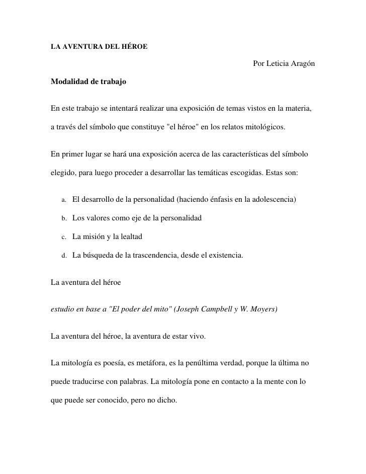 LA AVENTURA DEL HÉROE <br />Por Leticia Aragón <br />Modalidad de trabajo<br />En este trabajo se intentará realizar una e...