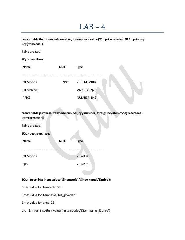 LAB – 4create table item(itemcode number, itemname varchar(20), price number(10,2), primarykey(itemcode));Table created.SQ...