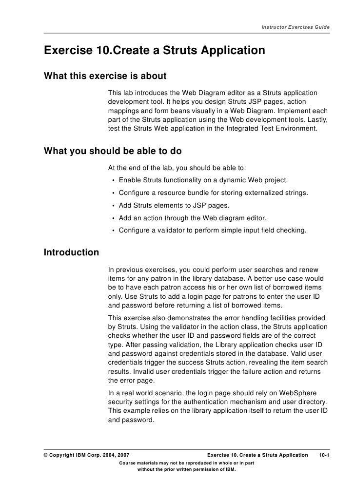 Lab 5a) create a struts application
