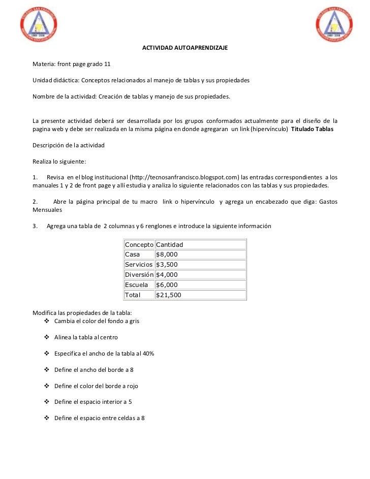 ACTIVIDAD AUTOAPRENDIZAJEMateria: front page grado 11Unidad didáctica: Conceptos relacionados al manejo de tablas y sus pr...