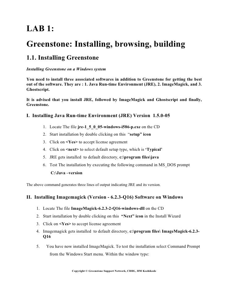 LAB 1:Greenstone: Installing, browsing, building1.1. Installing GreenstoneInstalling Greenstone on a Windows systemYou nee...