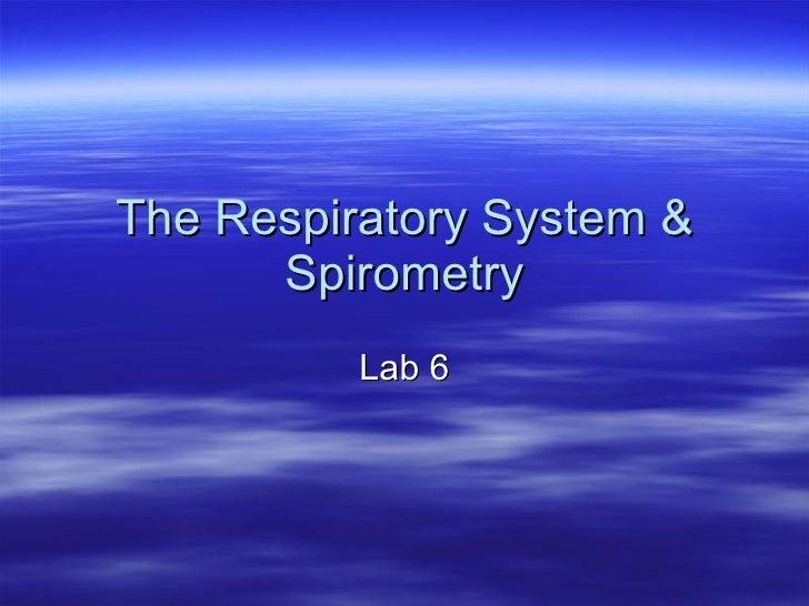 The Respiratory System & Spirometry Lab 6