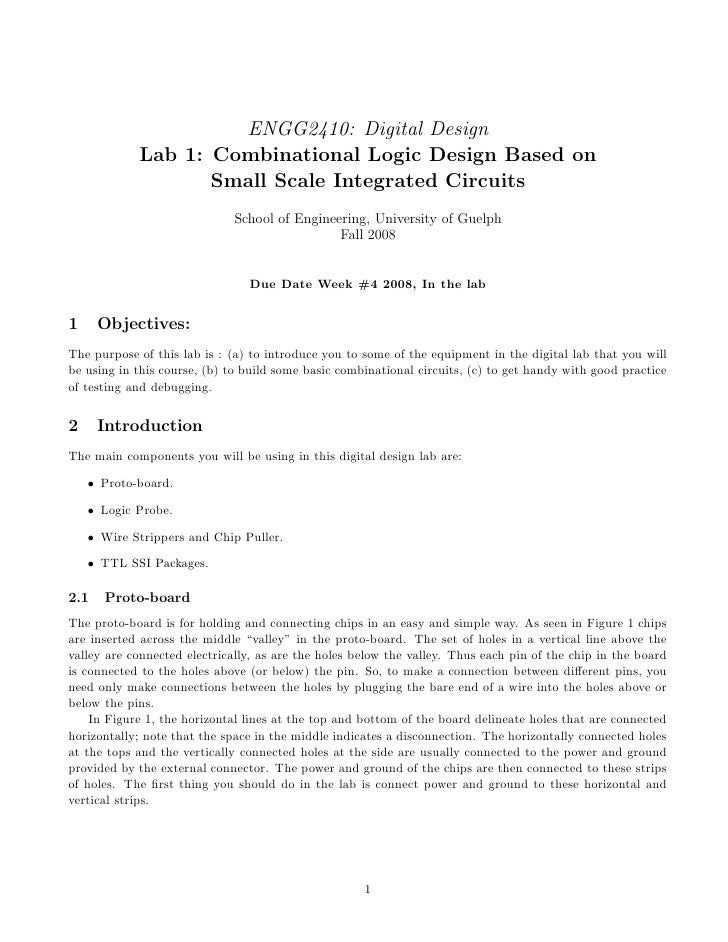 ENGG2410: Digital Design             Lab 1: Combinational Logic Design Based on                    Small Scale Integrated ...