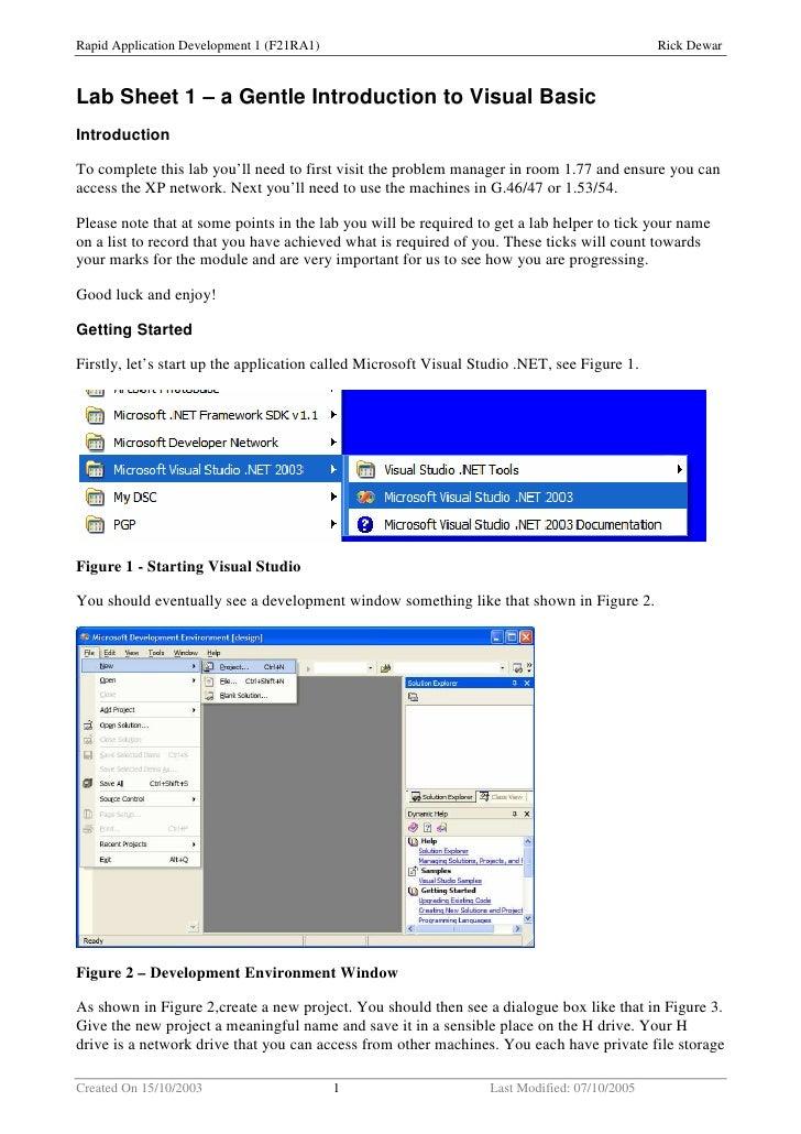 Rapid Application Development 1 (F21RA1)                                                      Rick Dewar    Lab Sheet 1 – ...