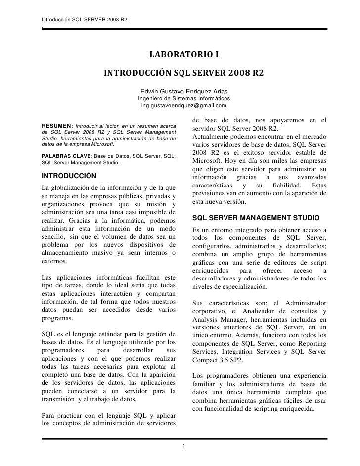 Introducción SQL SERVER 2008 R2.                                           LABORATORIO I                         INTRODUCC...