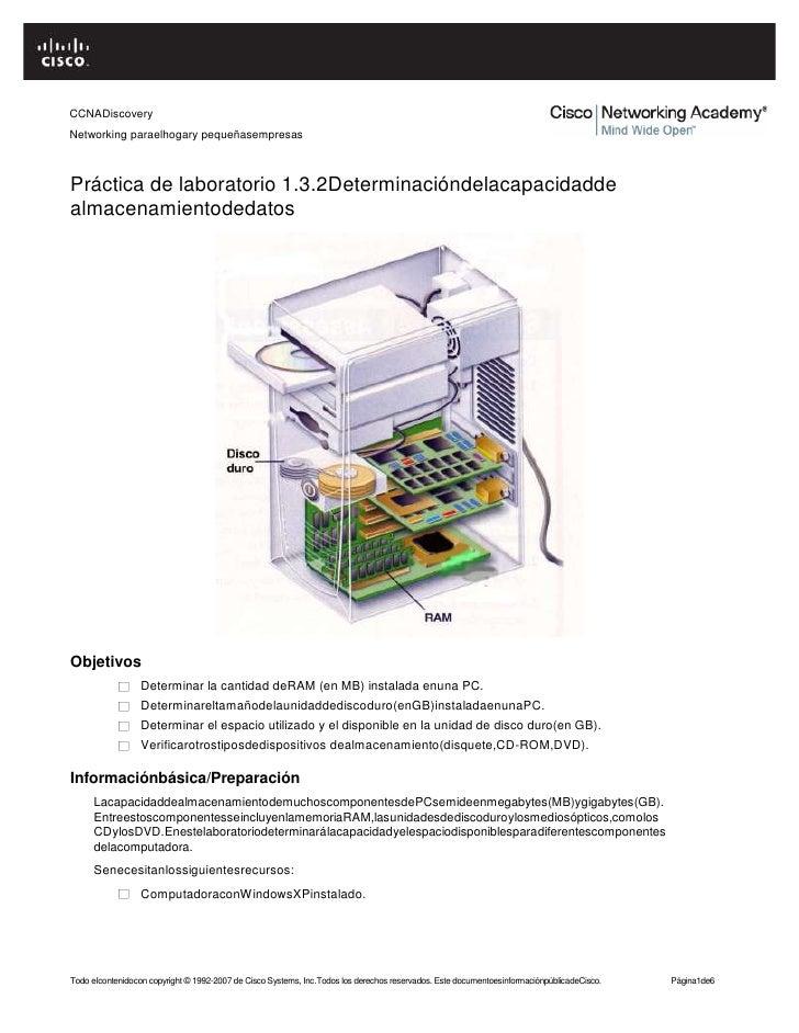CCNADiscoveryNetworking paraelhogary pequeñasempresasPráctica de laboratorio 1.3.2Determinacióndelacapacidaddealmacenamien...
