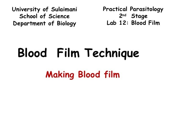 Blood  Film Technique Making Blood film Practical Parasitology 2 nd   Stage Lab 12: Blood Film University of Sulaimani Sch...