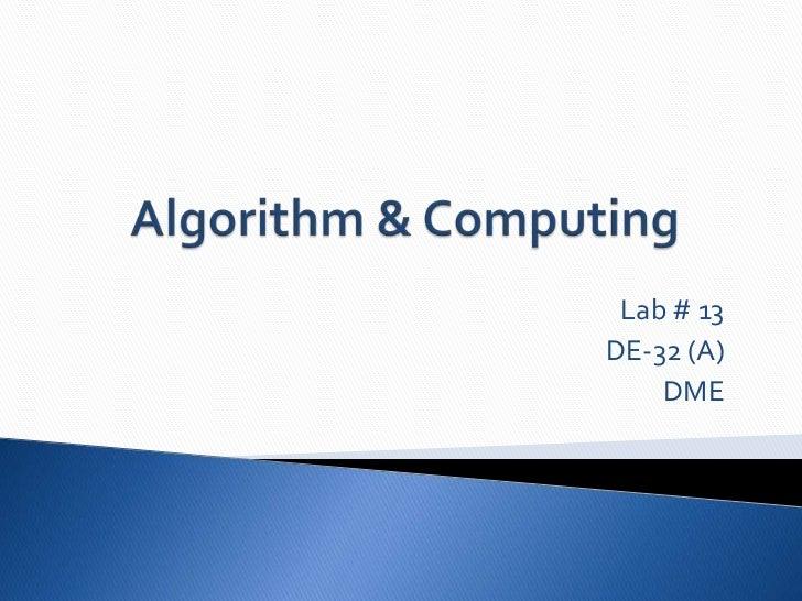 Lab # 13DE-32 (A)    DME