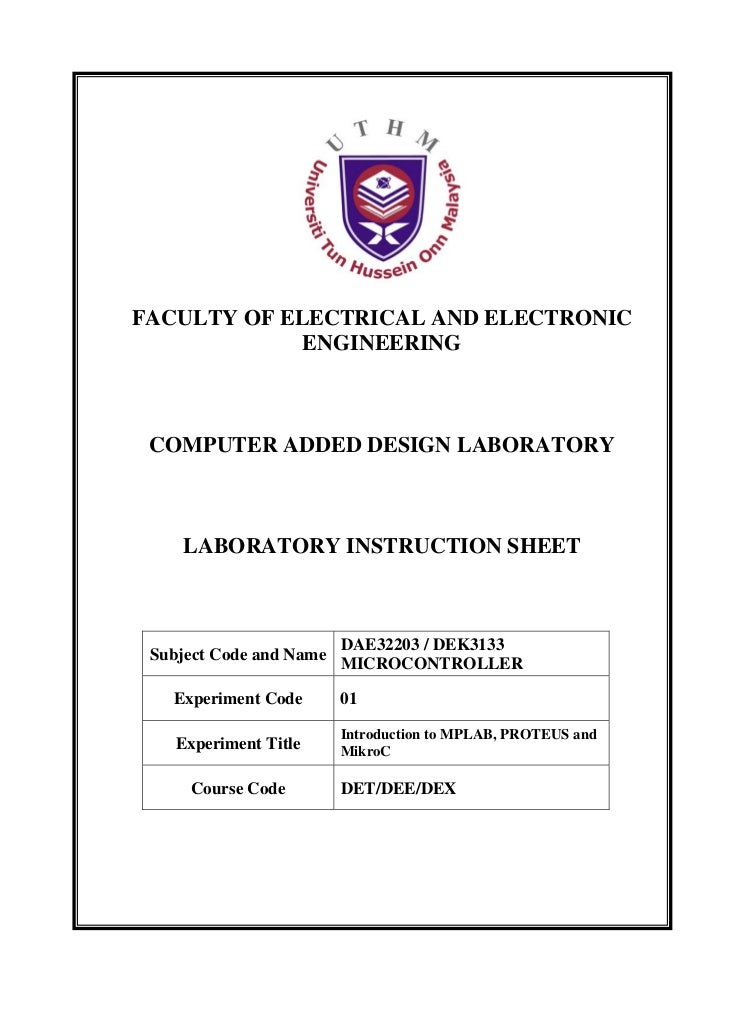 FACULTY OF ELECTRICAL AND ELECTRONIC             ENGINEERING COMPUTER ADDED DESIGN LABORATORY    LABORATORY INSTRUCTION SH...