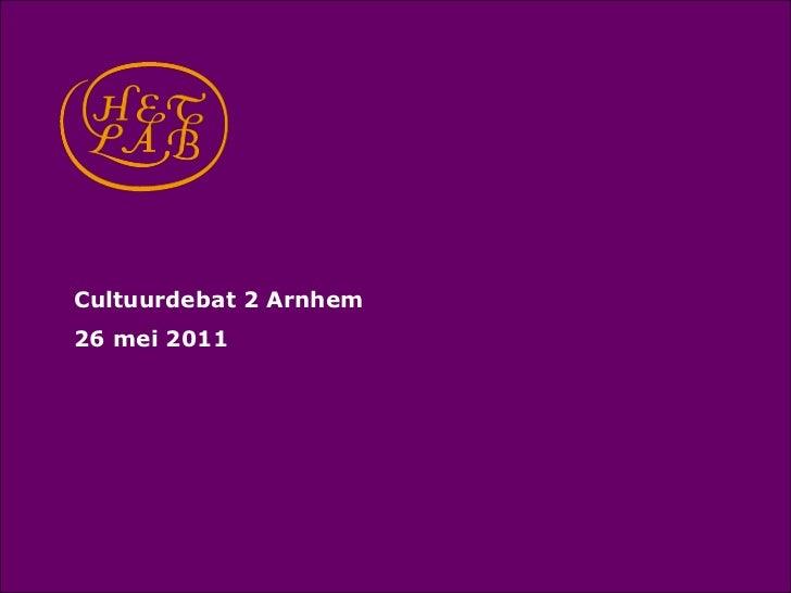 Cultuurdebat 2 Arnhem<br />26 mei 2011<br />