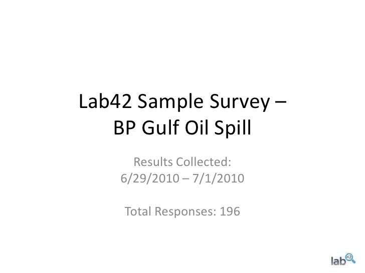 Lab42 Sample Survey –BP Gulf Oil Spill<br />Results Collected:<br />6/29/2010 – 7/1/2010<br />Total Responses: 196<br />