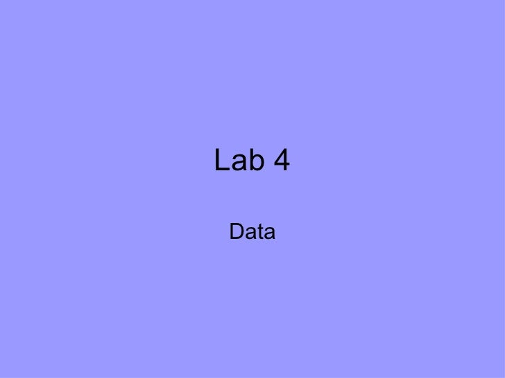 Lab 4 Data and sample equations